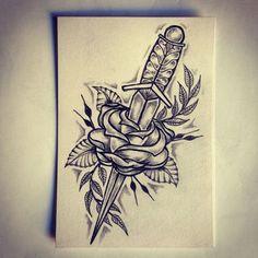 Risultati immagini per knife with rose tattoo