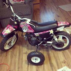 I had training wheels on my first dirt bike(: