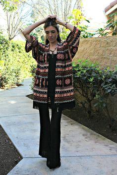 Black Boho Print Kimono Cardigan with Fringe