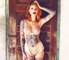 Tattoo model Chelsea Gabriellee in underwear