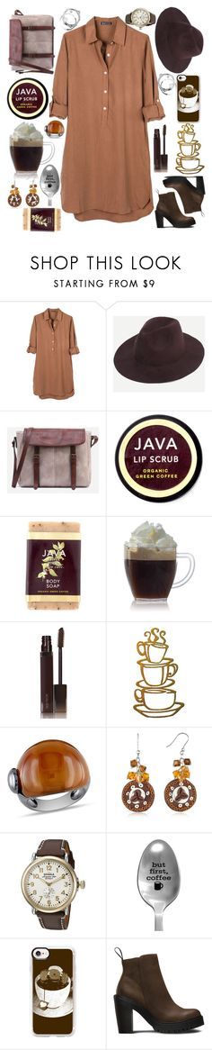 """Coffee indulgence"" by maryjayseven ❤ liked on Polyvore featuring United by Blue, Java, Laura Mercier, PTM Images, Ice, Dolci Gioie, Shinola, Casetify and Dr. Martens"