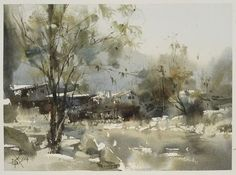 Chien Chung Wei, Plein air in Miao Village No. 3 苗寨寫生 27 x 2014 Watercolor Landscape Paintings, Watercolor Trees, Watercolor Sketch, Watercolor Artists, Artist Painting, Abstract Landscape, Watercolour Painting, Watercolours, Art Aquarelle