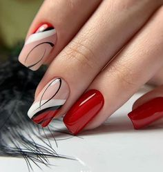 red nail designs 90 Beautiful Square Nails Design Ideas Youll Want To Copy Immediately Page 13 Cocopipi Square Nail Designs, Red Nail Designs, Cute Nails, Pretty Nails, Short Square Nails, Manicure E Pedicure, Red Manicure, Manicure Ideas, Nagel Gel