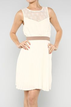 Lace Accent Pleated Cream Dress
