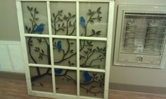 Old window painted with acrylic. Can't wait to hang it on the wall
