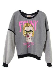 Funny Woman Gray T-shirt With Detachable Zipper Sleeves | Choies