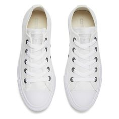 Converse Unisex Chuck Taylor All Star OX Canvas Trainers White... ($68) ❤ liked on Polyvore featuring shoes, sneakers, flats, converse, tennis shoes, white shoes, flat shoes, silver tennis shoes, silver flats and tennis trainer