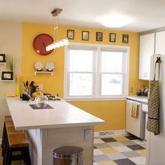 Yellow walls in kitchen PVC Tile on floor