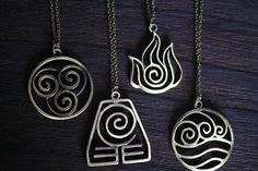 4 Nations the antique bronze Avatar: The Last Airbender jewelry    { Details: } - A set of 4 necklace  - Delicate necklace, not allergic.  - 24