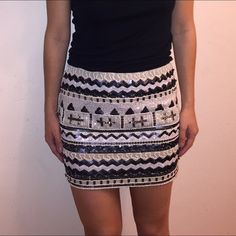"Beaded skirt Beaded stretchy skirt. Comes with extra nude layer under neath. Side zipper closure. Perfect for a girls night out  length approx 13.5"" Skirts"