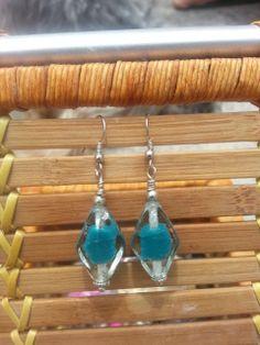 London Blue Abstract Flower  Glass Earrings by PoppinJamesStudio, $10.00