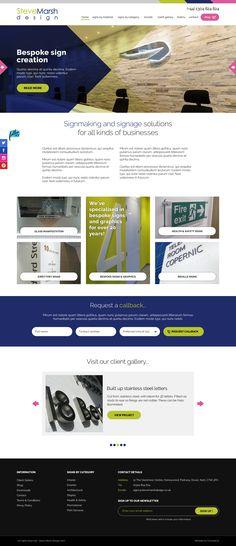 Homepage design for Steve Marsh Design - bespoke sign makers based in Dover, Kent