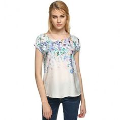 Ladies Women Casual O-Neck Short Sleeve Floral Slim Blouse Tops
