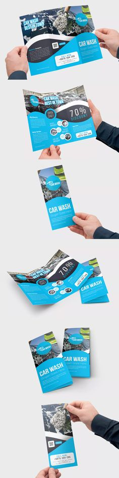 Car Wash Trifold Brochure Template PSD