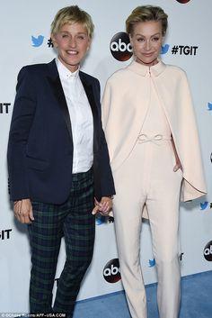 Lovebirds: Ellen DeGeneres held hands with her wife, Portia de Rossi
