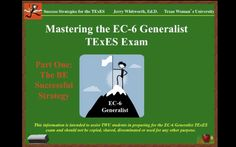 This is the first video in an eight-video series to help individuals prepare for and to pass the Texas Exams of Educator Standards (TExES) on the EC-6 Generalist.…