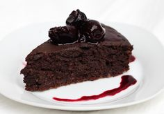 Chocolate Chickpea Cake with Cherries.
