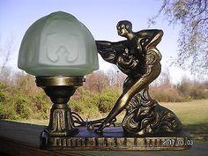 No. 183 Art Deco Lady Woman Figural Metal Spelter Lamp Vintage Light