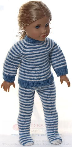 """dolls clothes knitting pattern - Every day's clothes"""" for my doll Knitting Dolls Clothes, Doll Clothes Patterns, Clothing Patterns, Crochet Machine, Knitting Machine Patterns, Knitting Yarn, Baby Knitting, Easy Crochet, Knit Crochet"""