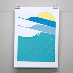 Sunny Surfing Print by Brainstorm