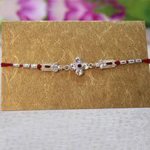 Stone Studded Silver Rakhi