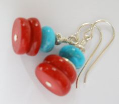 Blue Turquoise and Red Coral Earrings Turquoise by MagnoliaStudio, $24.00
