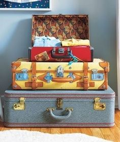 Keep dress-up clothes in vintage suitcases as an inexpensive solution. | 41 Clever Organizational Ideas For Your Child's Playroom
