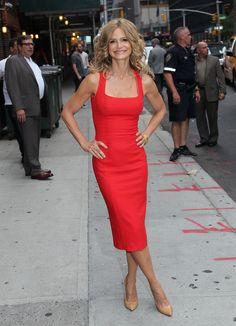 Kyra Sedgwick-red hot square-neck sheath L'Wren Scott dress and nude pumps...perfect!!