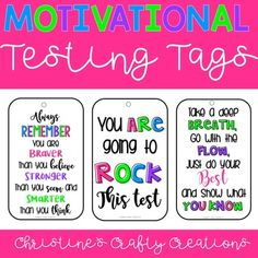 These motivational test taking tags are great for the end of grade test or throughout the year during any test. They look very cute with a ribbon tied at the top! Three quotes include: -Always remember you are braver than you believe, stronger than you seem, and smarter than you think. -You are goi... Classroom Crafts, Kindergarten Classroom, Kindergarten Activities, Preschool, Elementary Teacher, Elementary Education, Teaching Style, Teaching Ideas, Always Remember You