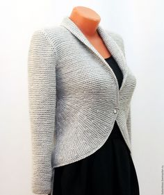 Wool cardigan / Woman clothing / Sweater coat / woman clothing / Hand knit jacket for stylish women from merino and alpaca. Classic model, which suggests simplicity and elegance. Very feminine. MADE TO ORDER any color and any size Купить Жакет вязаный Кардиган женский Вязаная кофта спицами - серый, однотонный, Жакет вязаный