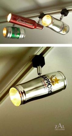 """Track lighting made from beer cans. So cool for a """"man cave"""" or game room. *file in brain under cool things to show the bf for his basement bar - Home Decor Fashions Beer Bottle Lights, Beer Bottles, Deco Originale, Ideias Diy, Can Lights, Spot Lights, Grid Design, Do It Yourself Home, Game Room"""