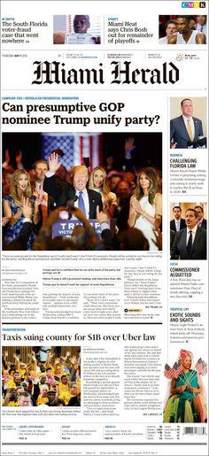 #20160505 #USA #FLORIDA #FloridaTodayNEWSpapers20160505 Thursday MAY 05 2016 http://en.kiosko.net/us/2016-05-05/geo/Florida.html <+> #MIAMI #MiamiHerald20160505 http://en.kiosko.net/us/2016-05-05/np/miami_herald.html