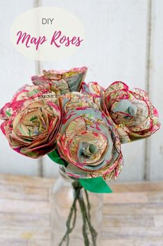 For a lovely alternative decoration, a tutorial for how to make some beautiful map roses. The paper flowers also make for a lovely homemade valentine's gift Diy Flowers, Fabric Flowers, Paper Flowers, Ribbon Flower, Craft Tutorials, Craft Projects, Projects To Try, Craft Ideas, Map Crafts