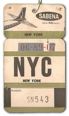 NYC via Sabena Airlines luggage label Repinned by www.silver-and-grey.com