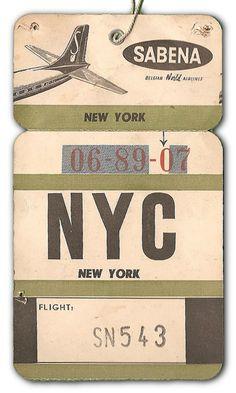 NYC via Sabena Airlines - vintage baggage tag
