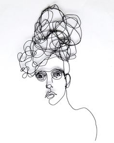 Wire wall art - large sculpture of Woman with glasses -  My thoughts whisk around