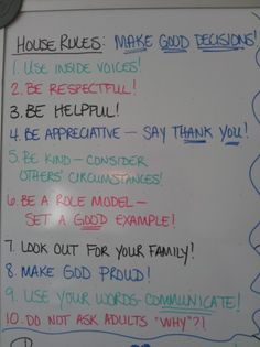 House Rules and Chore Ideas...We definitely need to have our own house rules written down for the kids to like this.