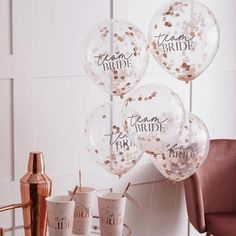 A fun addition to any hen party, these confetti balloons will glam up any venue and will be loved by everyone with team bride wording. The pretty blush pink & rose gold confetti will add a pop of colour and brighten any hen party. Hens Party Themes, Hen Party Decorations, Bachelorette Party Decorations, Bridal Shower Decorations, Party Ideas, Hen Party Balloons, Bride To Be Balloons, Clear Balloons, Team Bride