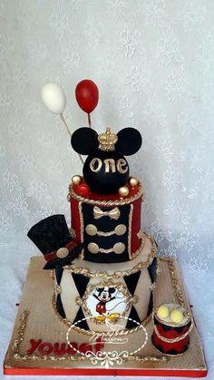 Mickey Mouse  by Fées Maison (AHMADI) 2nd Birthday Party Themes, Mickey Mouse Birthday, Birthday Cake Girls, First Birthday Cakes, Baby Mickey Mouse Cake, Mickey Cakes, Happy Birthday Little Boy, Miki Mouse, Pastel Mickey