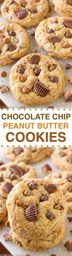 The BEST Chocolate Chip Peanut Butter Cookies- packed with peanut butter chocolate chips, salted caramel peanuts and loads of Reese's peanut butter cup chunks (Butter Bear Recipe)