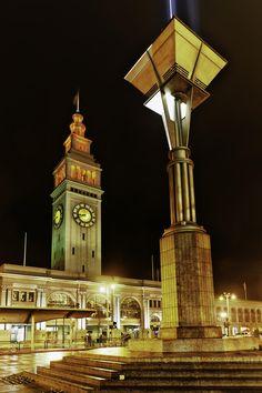 San Francisco Ferry Building Clock Tower At Night | San Francisco | California | Photo By Steve Sinnock
