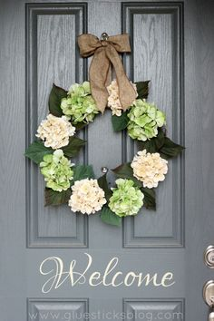 Spring Hydrangea Wreath. Neutral enough for any season though.