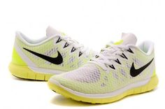 Nike Free 5.0+ Womens White Fluorescent Green Running Shoes