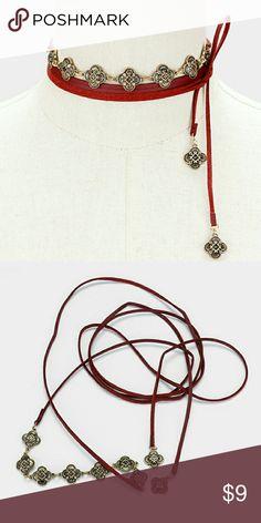 Choker Antique metal disc link faux leather tie wrap choker necklace noriescloset Jewelry Necklaces
