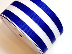 """Offray Wired Carnival Stripe Grosgrain Ribbon 2 1/2"""" wide x 5 yards, Blue White #Offray"""
