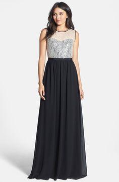Floral, lace, sequins... yes please. | 'Elise' Chiffon & Lace Gown