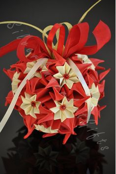 Origami Kusudama Ball Origami Christmas by AmberGlassArt on Etsy