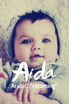 """This name is of Arabic origin and means """"returning"""". It is pronounced with three syllables like """"A-ee-dah' or it can be pronounced with two syllables like """"EYE-dah"""". It was not ranked in the top 1000 baby names for girls to it is definitely unique. Arabic Baby Girl Names, Islamic Baby Names, Muslim Baby Girl Names, Boy Dog Names, Girl Names With Meaning, Modern Baby Girl Names, Rare Baby Girl Names, Unique Baby Names, Awesome Names"""
