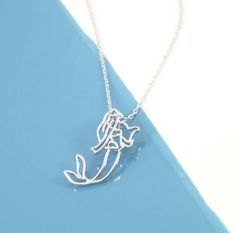 Ariel Little Mermaid Necklace by Lucy Loves Neko, the perfect gift for Explore more unique gifts in our curated marketplace. White Necklace, Gold Plated Necklace, Pendant Necklace, Disney Necklace, Mermaid Necklace, The Little Mermaid, Neko, Ariel, Jewerly