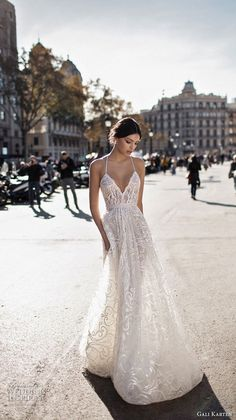 gali karten 2017 bridal spaghetti strap halter neck deep sweetheart neckline full embellishment elegant romantic soft a line wedding dress sweep train (9) mv -- Gali Karten 2017 Wedding Dresses